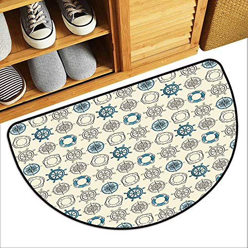 YOFUHOME Compass Printed Door mat Marine Themed Doodle Art Vintage Inspirations Traveling Exploration Cruise Pattern Mildew Proof W35 x L23 Beige Teal