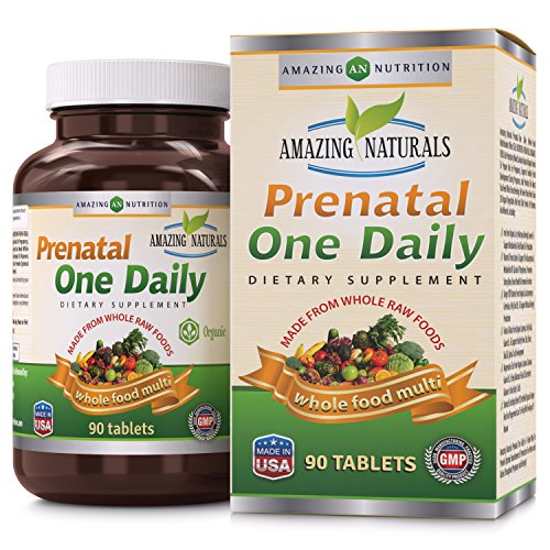 Amazing Naturals PRENATAL ONE DAILY Multivitamin with Floic Acid * Best Raw, Whole Food Multivitamins For New Moms and Moms-to-be * 90 Tablets Per Bottle * Packed With The Goodness Of Over