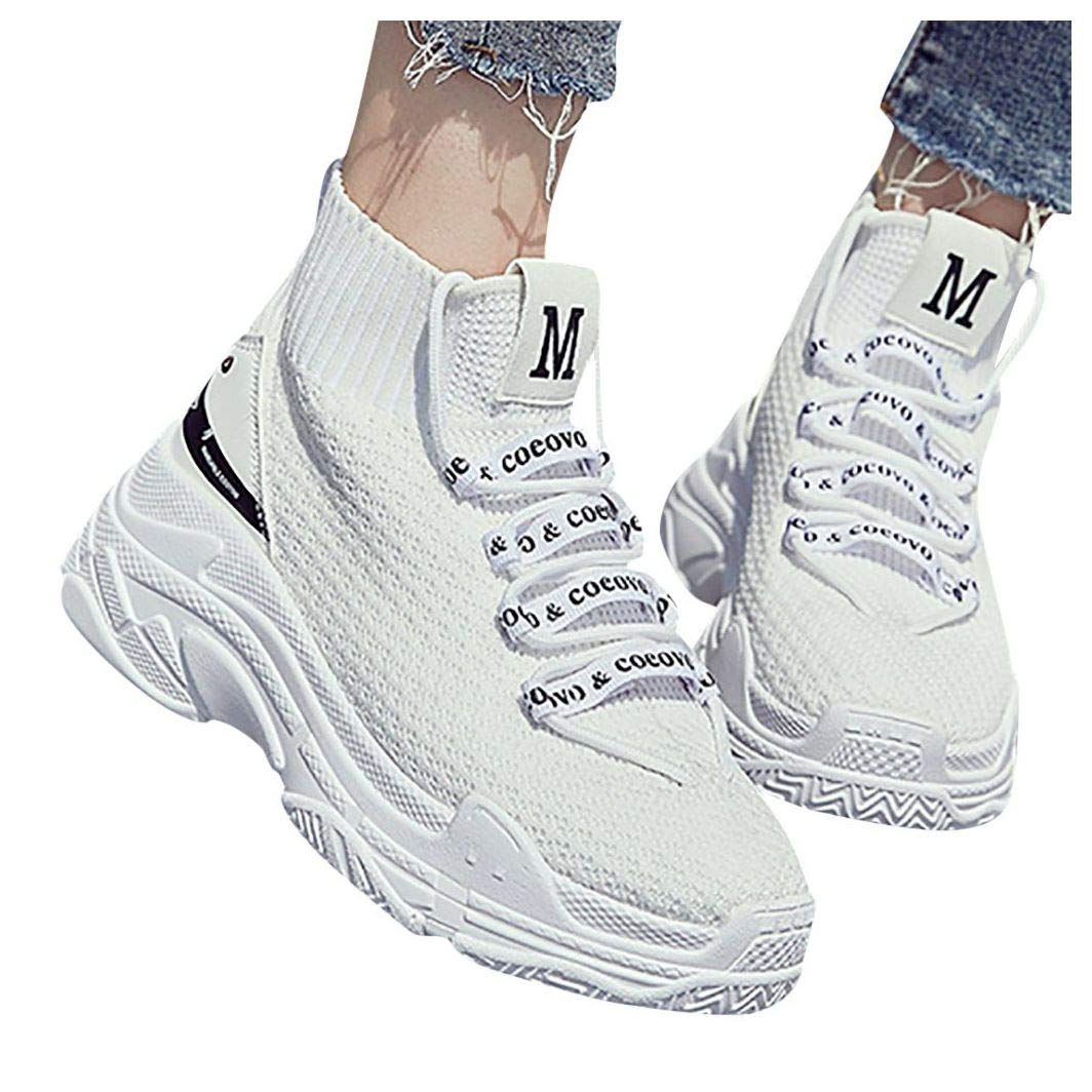 Sneakers Women Walking Shoes Comfortable Lightweight, High Top Breathable Warm Flats Platform Ankle Boots Bootie Shoes White by Frunalte Women Shoes