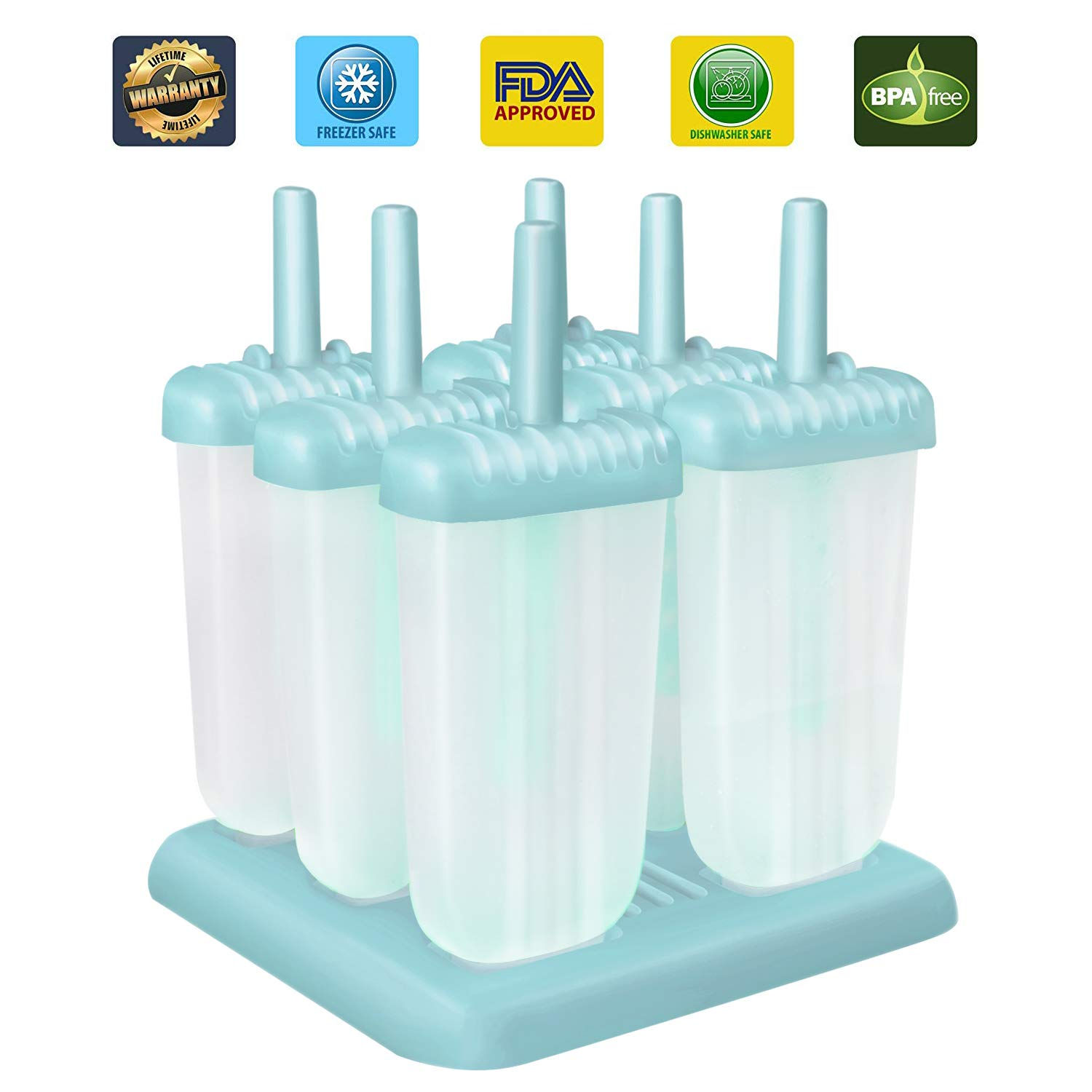 Ice Lolly Maker with Non-Spill Lid Cleaning Brush and Silicone Folding Funnel 9Pack Ice Lolly Mould,Gifort Popsicle Mold