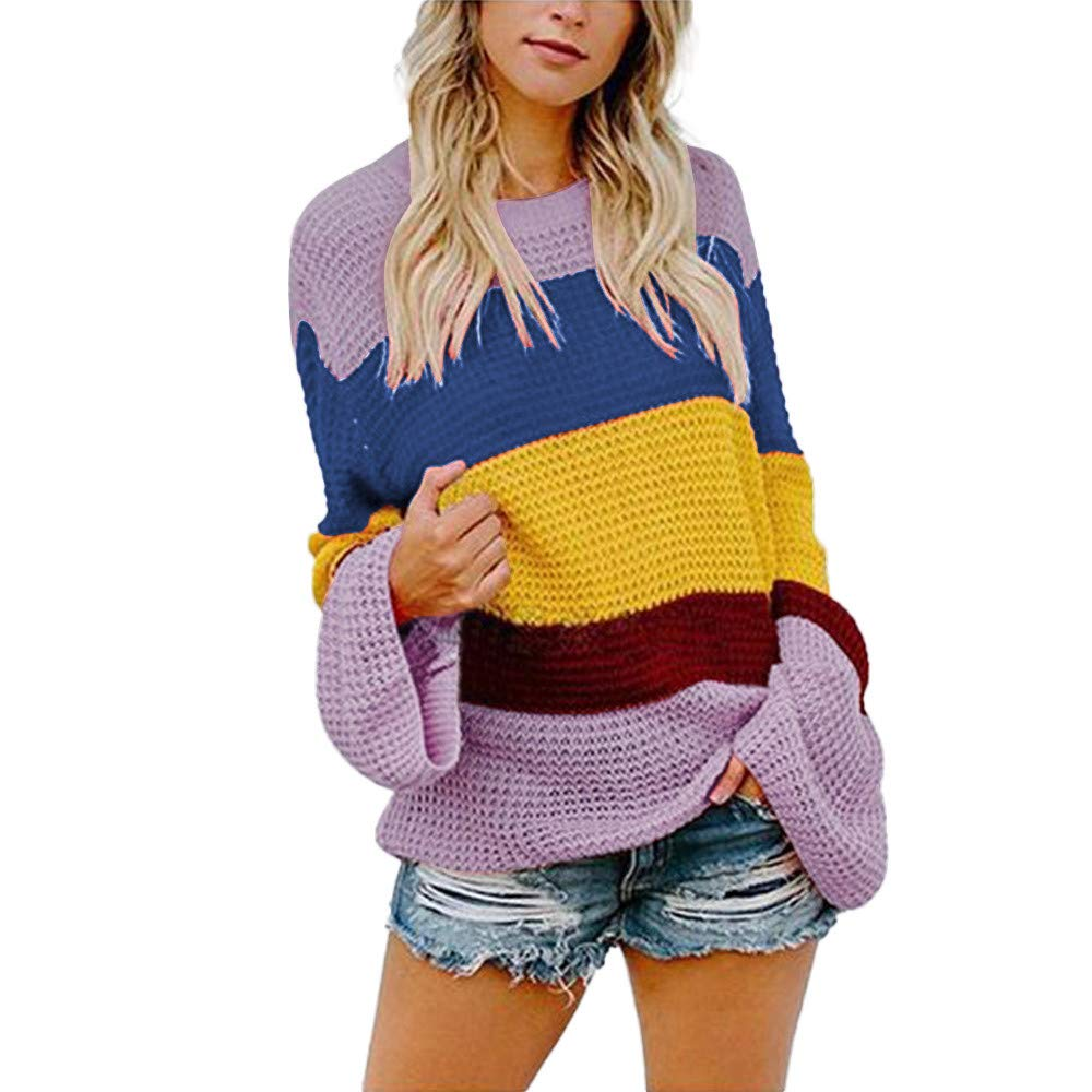 Yvelands Mujeres Suéter Striple Novedad Casual Punto Suelta Manga Larga Suéter Top Blusa: Amazon.es: Ropa y accesorios