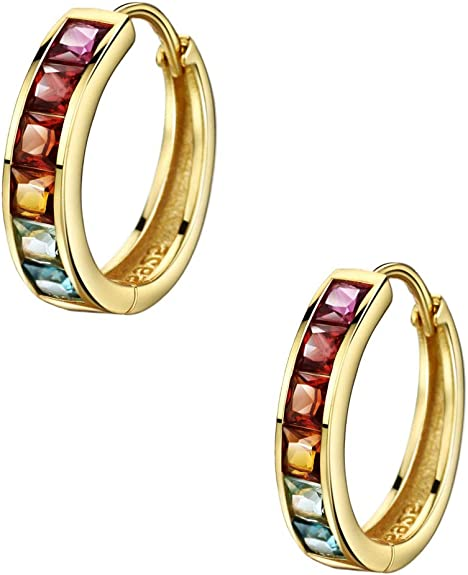 Hoop Simple Color Earrings Rainbow Crystal Hoop Earrings Women Christmas Gifts