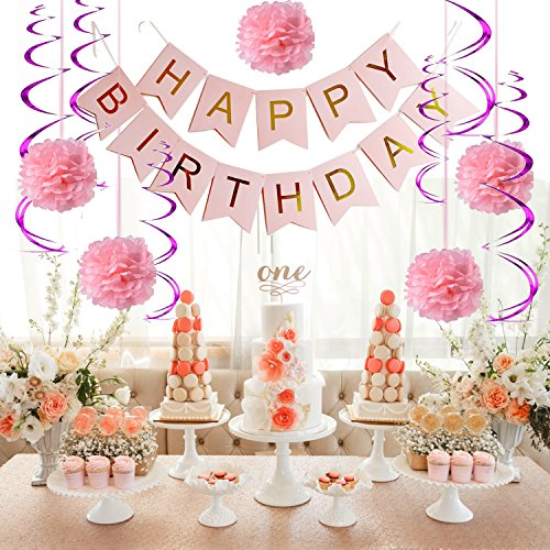 Birthday Party Decorations for Adults and Woman Kids Birthday Pink Happy Birthday Banner with Pom Pom and Spiral Garland 1st Birthday Girls, Party Decorations
