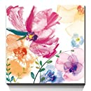 3Hdeko-Giclee Prints With Embellishment Summer Flowers Multi Water Color Contemporary Artwork Wall Art Gallery Wrapped - Ready to hang! (20x20Inch)