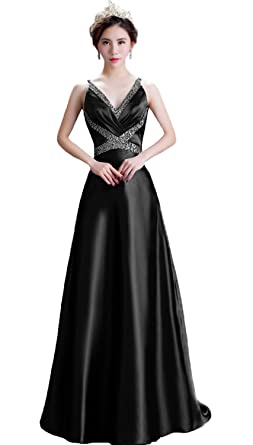 HEAR Womens Long V Neck Prom Dresses Formal Cocktail Dress Plus Size Hear085 Black 0