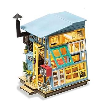 Amazon Com Eggschale Diy Dollhouse Kit With Led Light 3d Wooden