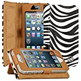 iPhone SE Flip Cover, iPhone 5S Designer Case, VanGoddy Mary PU Leather Zebra Print Designer Cover, Slim Flip Cases Cover with Magnetic Closure, Wallet and Kickstand Case for Apple iPhone SE / 5S / 5 (White/Black)