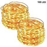 Tools & Hardware : Twinkle Star 33FT 100 LED Copper Wire String Lights Fairy String Lights Battery Operated LED String Lights for Christmas Wedding Party Home Holiday Decoration, Warm White, 2 Pack