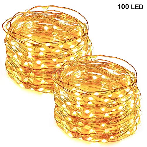 Twinkle Star 33FT 100 LED Copper Wire String Lights Fairy String Lights Battery Operated LED String Lights for Christmas Wedding Party Home Holiday, Warm White, 2 Pack