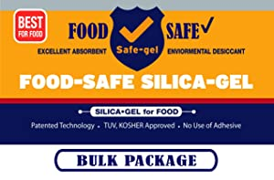 Safe Silica-Gel for Food, 1 Gram [2000 Packs], Food Safe Desiccant, Dehumidifiers, Moisture Absorption by Safe-Gel (TUV & Kosher Approved) (2000)