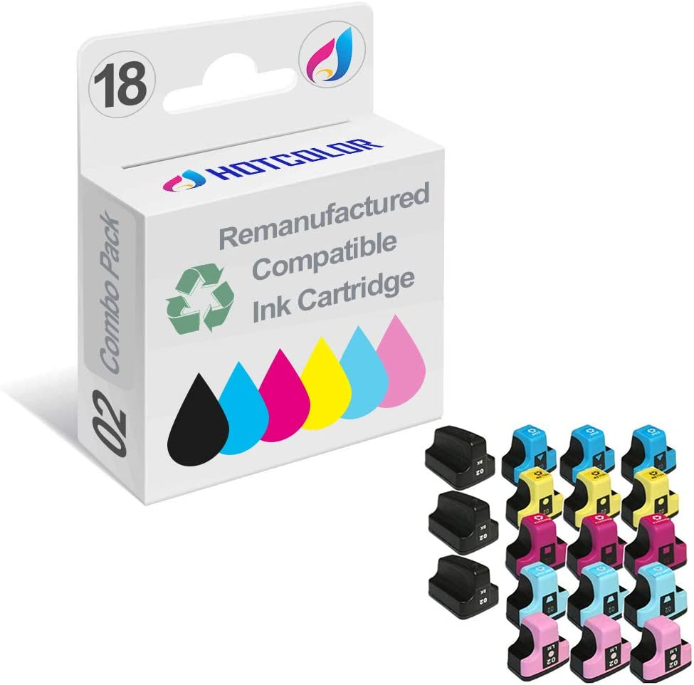 HOTCOLOR 18-Pack 02 Ink Cartridge (3 Black, 3 Cyan, 3 Yellow, 3 Magenta, 3 Light Cyan, 3 Light Magenta) for HP 02, HP 02XL use for HP PhotoSmart 3110 3210 3310 3210v Printer