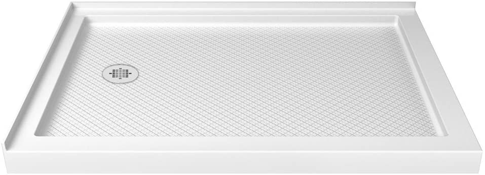 DreamLine SlimLine 36 in. D x 48 in. W x 2 3/4 in. H Left Drain Double Threshold Shower Base in White, DLT-1036481