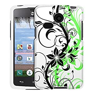 LG Lucky Case, Snap On Cover by Trek Black Branch With Green Shadow Case