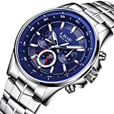 Men Business Watch Waterproof 30M Clock Stainless-steel Band Mens Watches Top Brand Luxury Fashion Casual Sport Quartz Wristwatch (bule)