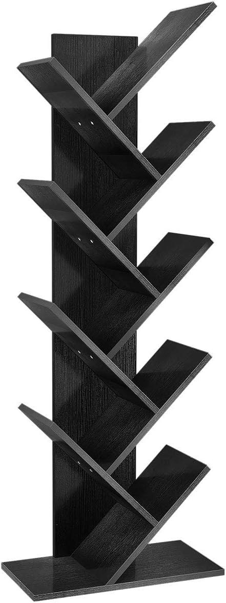 YITAHOME 9 Shelf Tree Bookshelf, Floor Standing Bookcase,Book Rack, Storage Rack Shelves in Living Room/Home/Office, Books Holder Organizer for Books/Movies - Black