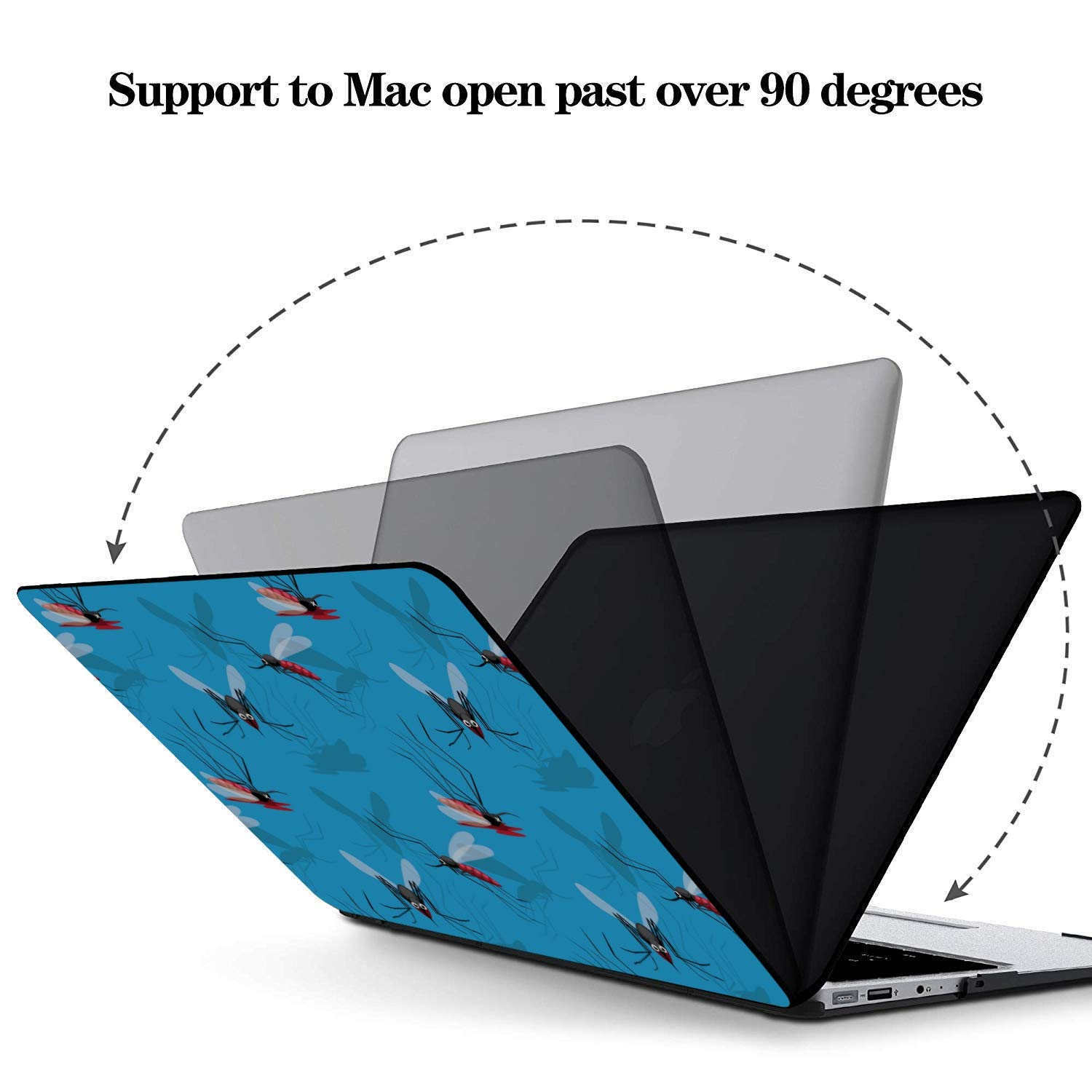 MacBook Pro 13inch Case Summer Reptile Cartoon Mosquito Insect Plastic Hard Shell Compatible Mac Air 11 Pro 13 15 Laptop Shell Protection for MacBook 2016-2019 Version