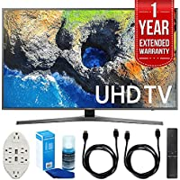 Samsung 65 4K Ultra HD Smart LED TV - UN65MU7000 (2017 Model) with 1 Year Extended Warranty + Accessories Bundle