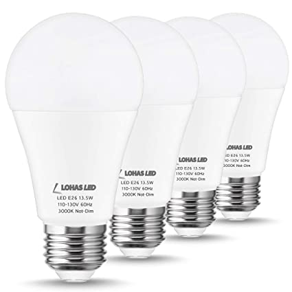 Halogen LED LOHAS A19 E26 Bulb Dimmable 100W Edison EquivalentA19 Base Bulbs ReplaceFrosted WhiteIncandescent Bulb LampNot Soft Light 3000K 3jR54AL