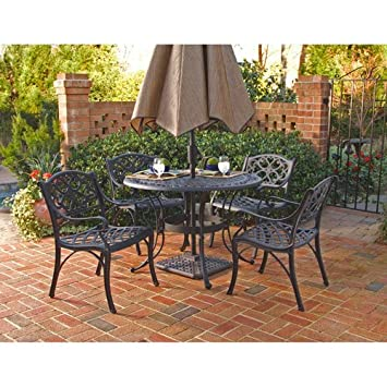Home Styles 5554 328 Biscayne 5 Piece Outdoor Dining Set, Black Finish,