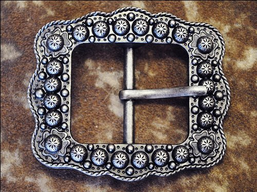 HILASON 1 Piece Antique Silver Finished Berry Belt Buckle with Rope Edge