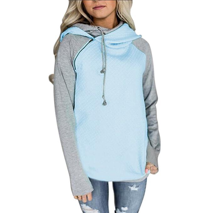 713f11ff EFINNY Women's Long Sleeve Turtleneck Hoodie Sweatshirt Side Zipper Hooded  Coat Pullover Tops