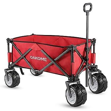 Oakome Carro de Playa Plegables Carretillas de Mano para Jardín Carrito con Ruedas 360 °Vagonetas 70kg de Capacidad: Amazon.es: Juguetes y juegos