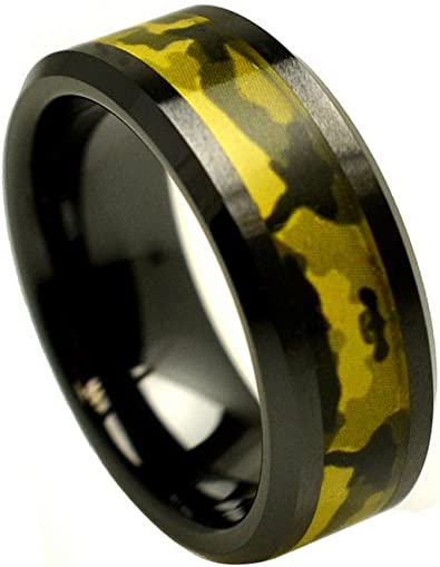 Custom Engraving 8mm Black Ceramic Beveled With Blue Camo Center Inlay Wedding Band Ring for Men Or Women