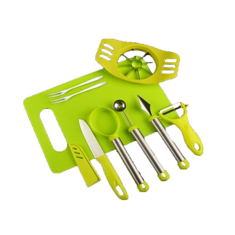 8-in-1 Fruit Tools Set DIY Fruit Knife Kits for Multi-Use Melon Baller Scoop, Carving Knife, Apple Slicer, Fruit Peeler, Fruit Knife, Seed Remover, Fruit Fork and Cutting Board