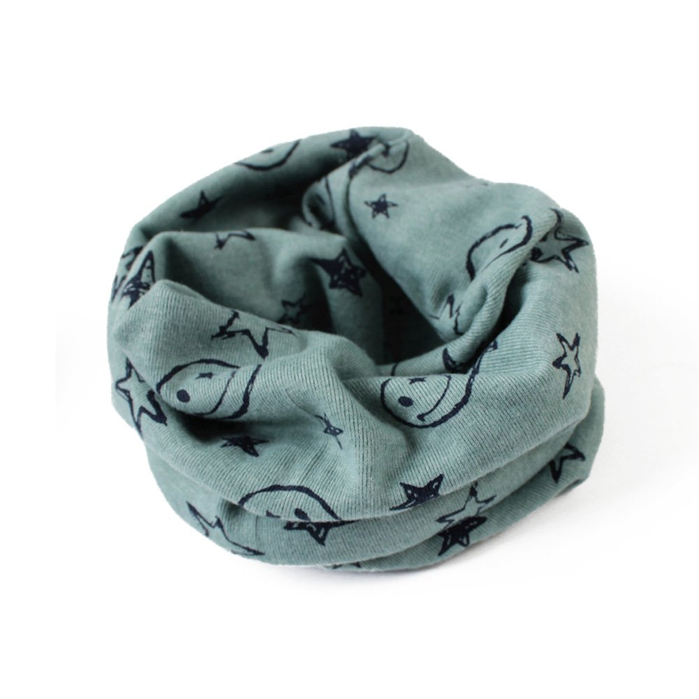 Timberlark Autumn Winter Boys Girls Cotton Warm Collar Scarf O Ring Neck Wrap Scarves (Green)