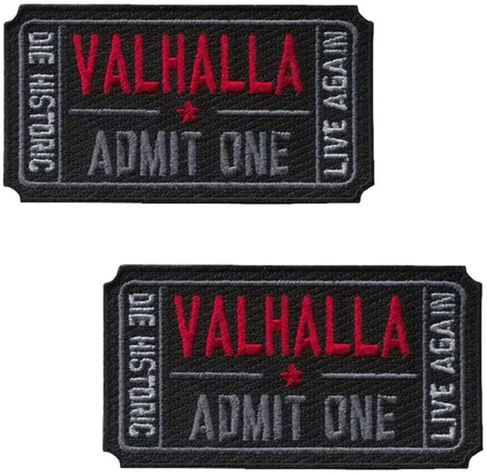 Valhalla Admit One Moral Vikings Logo Iron on Sew on Embroidered Patch