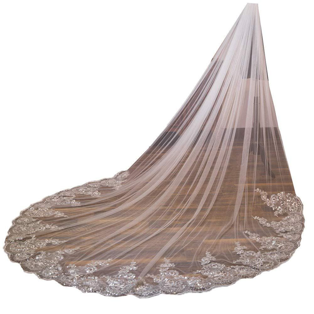 U-Hotmi 118'' Long Lace Sequins Edge Wedding Bridal Veil with Metal Comb, Ivory