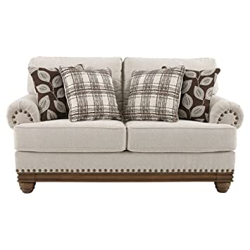 Harleson Wheat Traditional Loveseat Vintage with Nailhead Trim