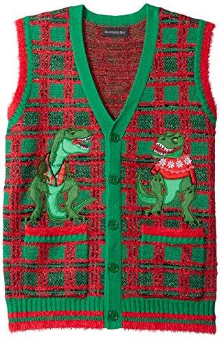 (Blizzard Bay Men's T-Rex Plaid Vest Ugly Christmas Sweater)