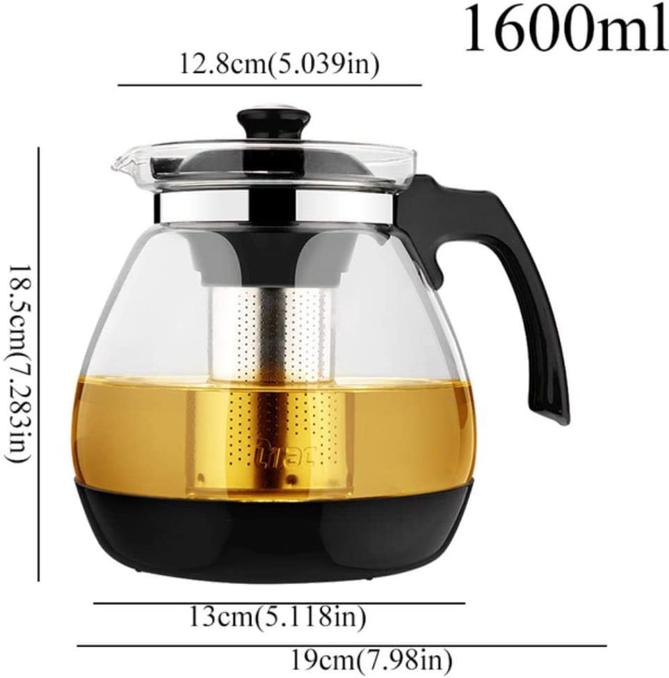 LCK Clear Glass Teapot with Stainless Steel Infuser Kettle Heated Container Coffee Tea Pot Maker,1600mlC165