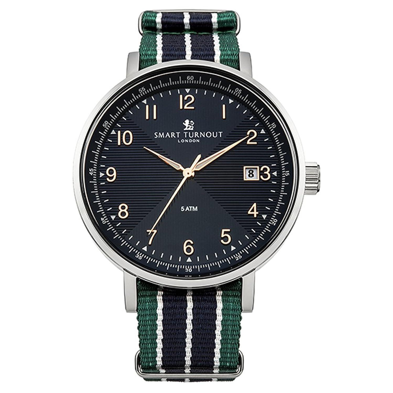 [スマートターンアウト] Smart Turnout 腕時計 ウォッチ ナイロンベルト ストライプ ブルー メンズ B014W2QULO