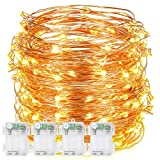 9.8 Feet 60 LEDs Copper Wire String Lights, DecorNova Battery Operated String Lights with Timer & Waterproof 3AA Battery Case for Holidays Parties Indoor Outdoor Decorations, Warm White, Set of 4