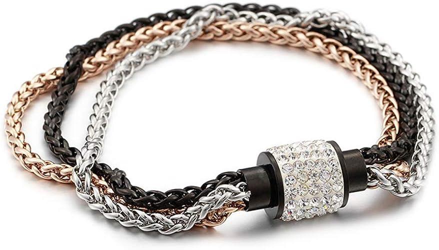 Stainless Steel Bracelet Bangle Chain Black//Brown Chain Link Designer Bracelet