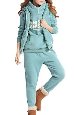 5f6ef03ff03 Women Winter Sports Sets 3 Pcs Fleece Thick Sweatshirt Jacket Pants Green S