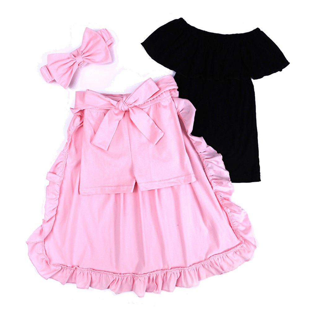 Baby Toddler Girls Off Shoulder Black Top+Shorts+Dovetail Skirt + Headband Clothes Outfit Set (2, Pink)