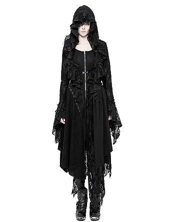 Punk Rave Kapuze Mantel Strickjacke Damen Gotisch Pullover Jacke Hexe Outwear