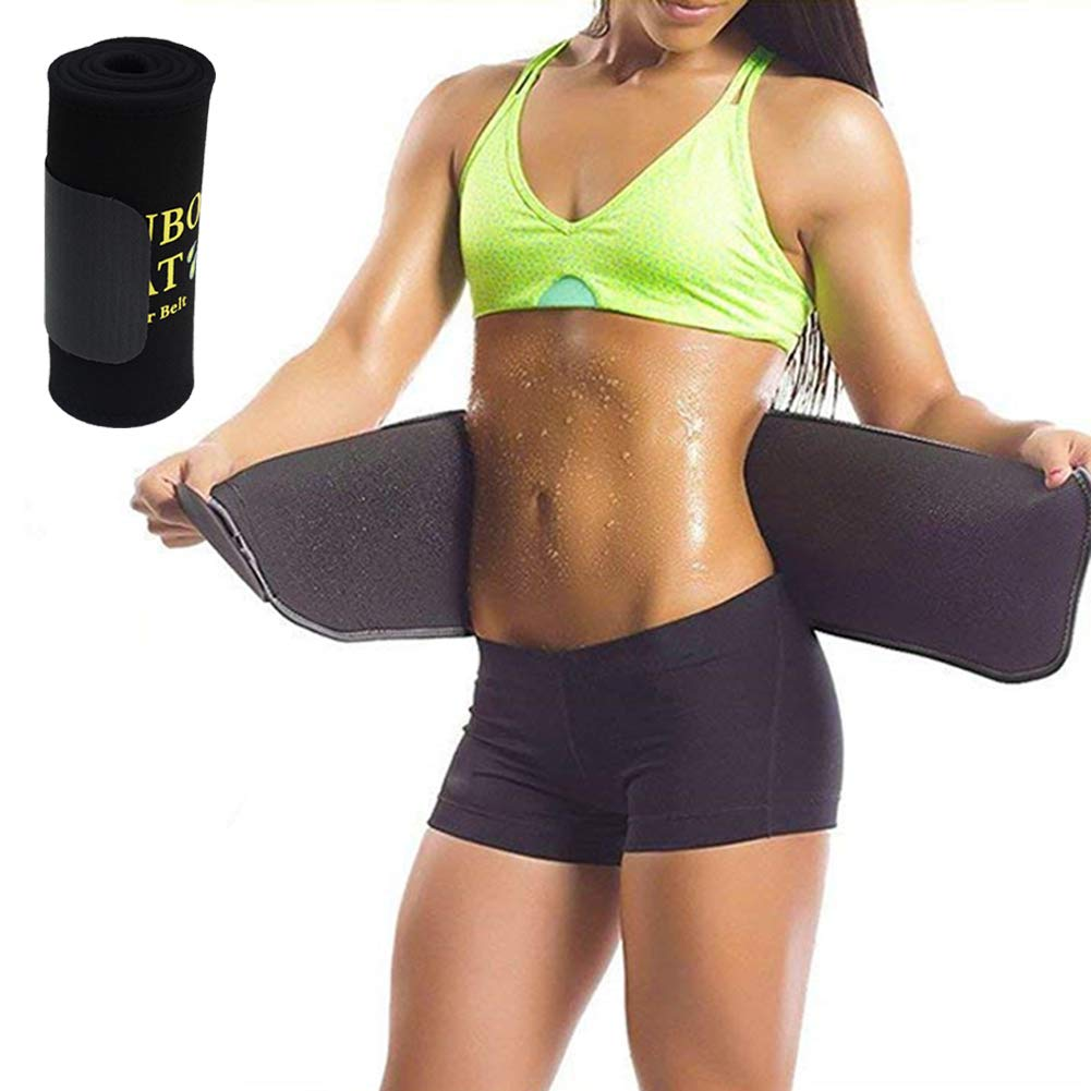 NOSUBO Sweat Waist Trainer Trimmer Belt for Men Women, Adjustable Premium Slimmer Trimmer for Back Support, Weight Loss Wrap, Sweat Enhancer, Body Slimmer
