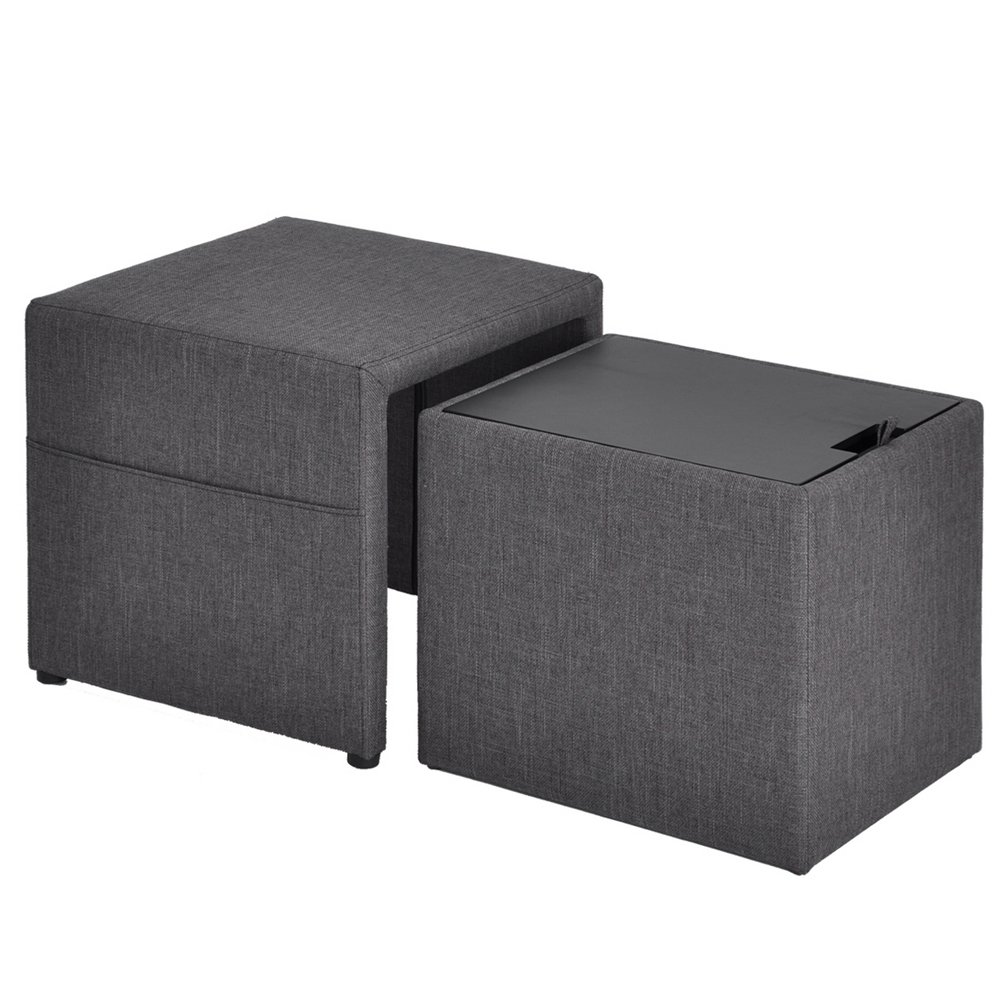 HOMY CASA 17'' Storage Ottoman w/Pull Out Drawer & Side Pocket - Gray Linen - Square Foot Rest Stool, Small Cube Table Ottomans by HOMY CASA (Image #8)