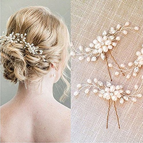 Edary Wedding Hair Pins Flower Hair Accessories for Bride and Bridesmaid 2PCS (Gold)