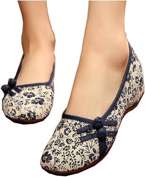 Impresión de Pequeñas Flores Mocasines Zapatos de Tela Mujeres Antiguas de Pekín Pisos Respirables