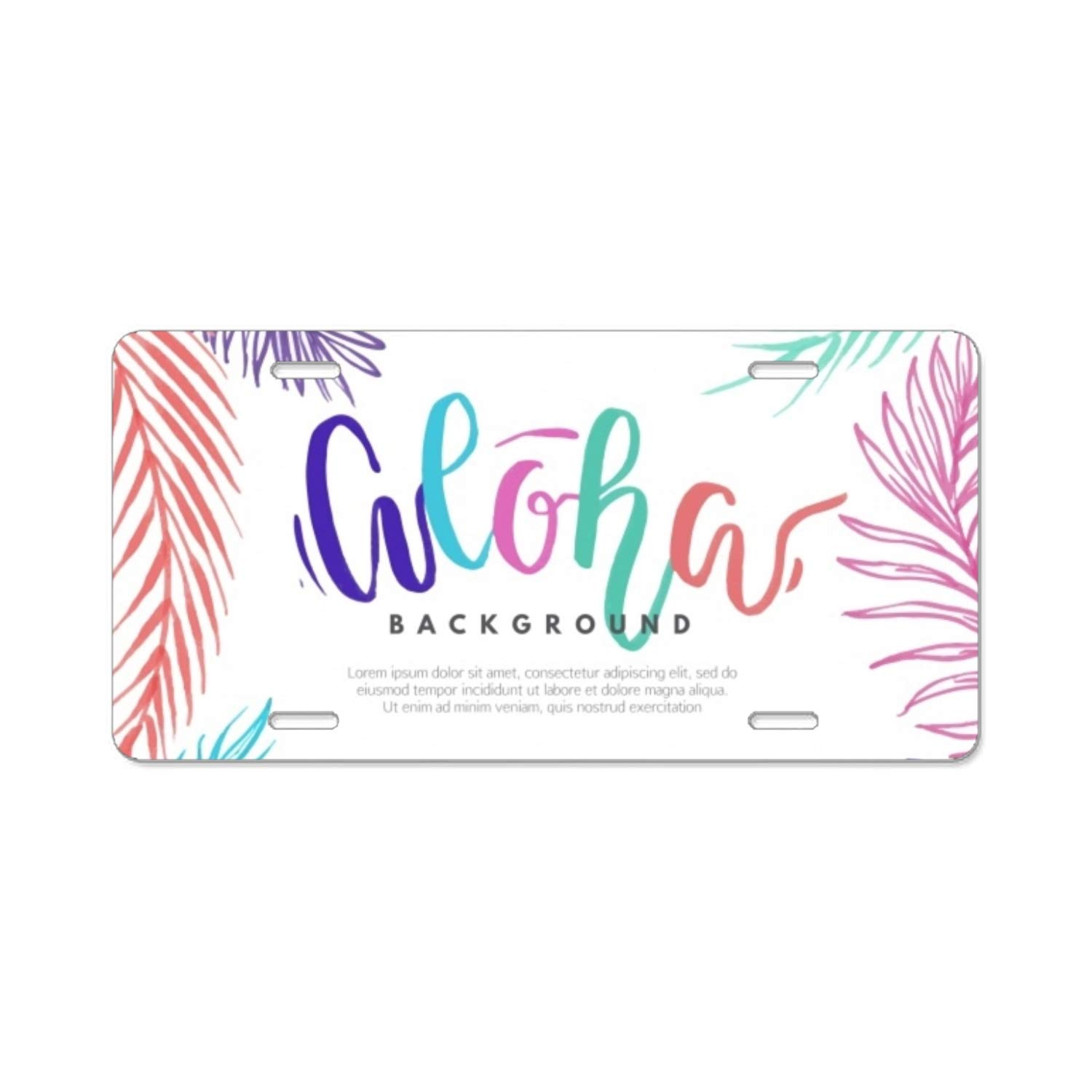 Amazon.com: Elvira Jasper Background with Sketches of Colorful Palm Leaves License Plate Frame Grade Alumina Frames Slim Bracket: Sports & Outdoors
