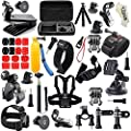 Gogolook 57-in-1 Action Camera Accessories Kits for Gopro 4/3/2/1 SJ4000 SJ5000 Accessory Bundles with Chest Harness Mount/Suction Cup Mount/Selfie Stick/Folating Hand Grip from Gogolook