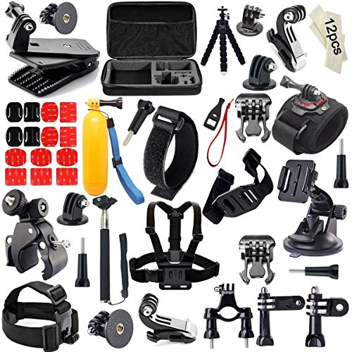 Iextreme Zubehör, 57-in-1 Zubehör Bundle Set für GoPro Hero 4/3+/3/2/1, Kamera Zubehör Kit für SJ4000 / 5000/6000 Xiaomi Yi--Kopfband + QuickClip + Grab Bag Chesty (Brustgurt-Halterung) + The Handler (schwimmender Handgriff) + Lenker/Sitzrohr/Stangenhalterung+Gurthalterung für belüftete Helme + Überrollbügel-Halterung + Abnehmbare Instrumentenhalterung