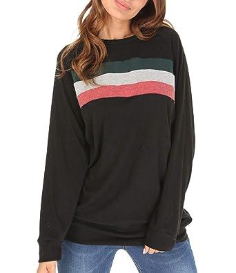 98561bd0a38 Women s Striped Sweatshirt Long Sleeve Loose Casual Crewneck Tunic Tops  Black S
