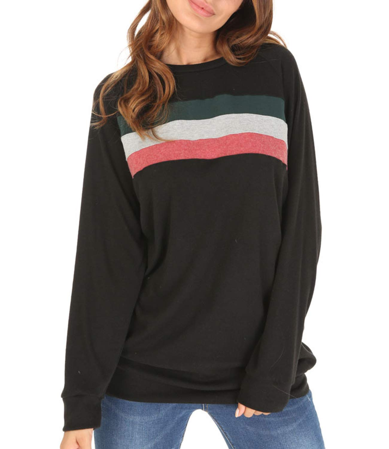 Women's Color Block Long Sleeve Casual Shirt Lightweight Tunic Sweatshirt Tops (Small, Black-03)
