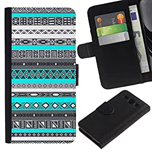 All Phone Most Case / Oferta Especial Cáscara Funda de cuero Monedero Cubierta de proteccion Caso / Wallet Case for Samsung Galaxy S3 III I9300 // Pattern Teal Blue Native American